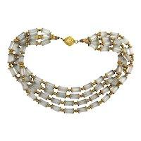 Vintage CARLISLE Crystal w/ Gilt Caps Bead Necklace