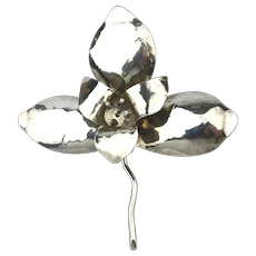Huge Handwrought Sterling Silver Orchid Flower Pin Pendant Brooch