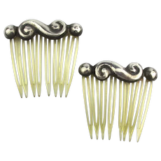 Pair of Vintage MEXICAN Sterling Silver Hair Combs