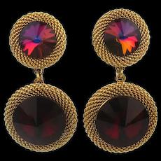 CAYLIA Gilded Mesh Red Crystal Dual Headlight Earrings