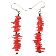 Vintage Branch Coral Sterling Silver Dangle Earrings