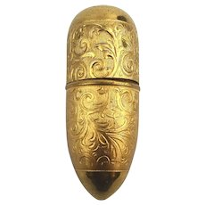 Old Austrian Stamped Brass Thimble Case Pill Box