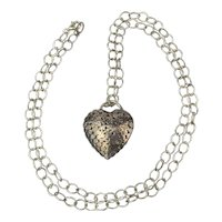 Modernist Sterling Heart Pendant Necklace Smashed Silver Beads