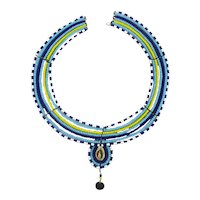 Vintage Tribal Wired Bead Necklace Collar