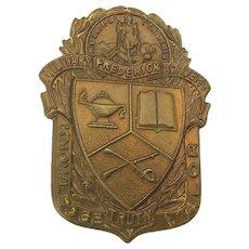 Rare Brass Badge - Military Frederick Academy Virginia