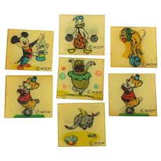 Vintage 1960s DISNEY FLICKER Disks Mickey Donald Pluto Dumbo Vari-Vue