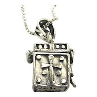 925 Sterling Silver Christian Prayer Wish Box Pendant Necklace