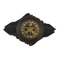 Big Black Carved Bakelite Pin - Signed JPH