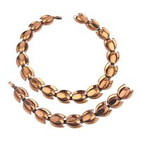 Great RENOIR Modernist Copper Necklace Bracelet Earrings Set