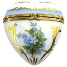 SOLD TO M.T. - Vintage LIMOGES Porcelain Heart Trinket Box France Dubarry