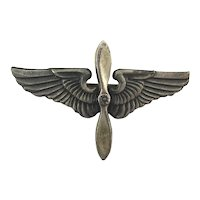 WWII Era Mexican Sterling Silver Wings Pin Propeller