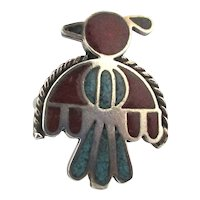 Old Zuni Inlay Bird Ring Crushed Turquoise Red Coral in Sterling Silver
