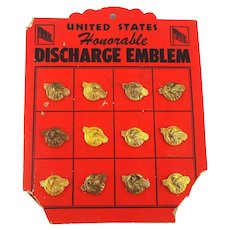 Original 1940s HONORABLE DISCHARGE Emblem Pins on Store Display Card