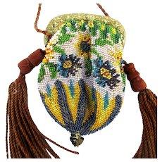 Victorian Mini Glass Beaded Handbag Purse w/ Tassel Ears