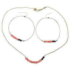 Less is More 14K Gold-Filled Coral Necklace Earrings Set