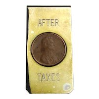 Vintage 1974 Money Clip ~ After Tax ~ Lincoln Penny