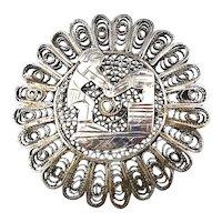 Ethnic Sterling Silver Filigree Man Pin Brooch