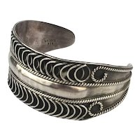 Vintage Mexican Sterling Silver Cuff Bracelet Curls n Curls