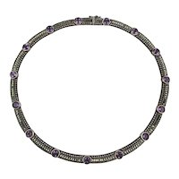Judith Jack Sterling Silver Marcasite Necklace w/ Amethyst Stones