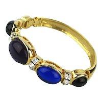 Vintage Les Bernard Austrian Crystal Hinged Bracelet