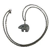 Old Zuni Carved Stone Bear Fetish Pendant Necklace Sterling Silver