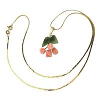 Carved Angel Skin Coral Jade on 14K Gold Chain Necklace