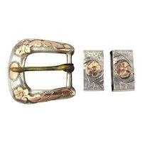 Vintage Sterling Silver Ladies Etched Belt Buckle w/ Loops