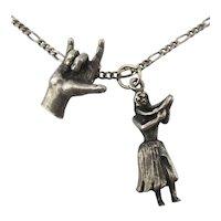 Vintage Sterling Silver Hawaiian Charm Necklace Hula Girl Shaka Hand