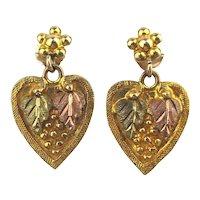 10K Tri Color Black Hills Gold Leaves on Heart Dangle Earrings
