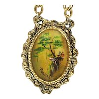 Miniature Signed POZNAR Framed Painting Pendant Necklace