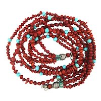 Big Long Four Strand Genuine Red Coral Turquoise Necklace - Sterling Silver
