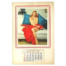Original 1951 Pin-Up Girl Calendar Risque Redhead Beauty
