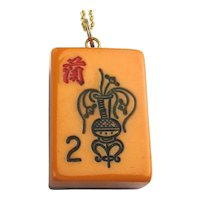 Two-Color Dove-Tailed Bakelite Mah Jong Pendant Necklace