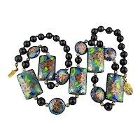Vintage Chinese Cloisonne Enamel Bead Necklace w/ Onyx