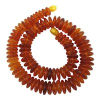 Vintage Genuine Baltic Amber Disk Necklace Translucent Applejuice