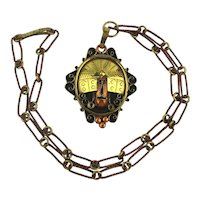 Mexican Meso-American Mayan Aztec Face Mask Pendant Necklace