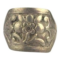 Antique Qing Dynasty Floral Silver Ring