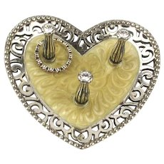 Vintage BRIGHTON Heart Ring Holder Stand w / a Gift