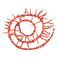Pretty Pinky Peachy Angel Skin Coral Branch Necklace