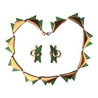 Modernist Green Enamel Copper Necklace Earrings Set