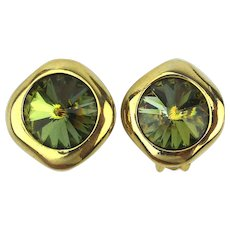 Vintage Georgiou Clip Earrings w/ Swarovski Heliotrope Headlight Crystals