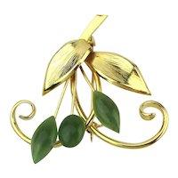 Gilded Branch of Genuine Jade Flowers Pin Brooch