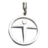 Tiffany & Co. Sterling Silver MANPOWER Pendant Necklace Modernist Co. Symbol