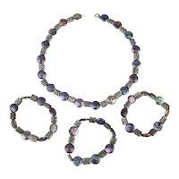 Sterling Silver Cultured Peacock Pearl Necklace - Bracelet Set