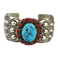 Navajo Sterling Silver Cuff Bracelet by Wilbert Benally Real Coral Turquoise
