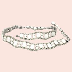 Original by Robert Milk Glass Rhinestone Belt - Necklace