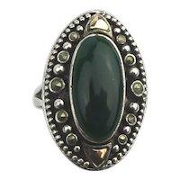 Estate Sterling Silver Marcasite Jade Ring