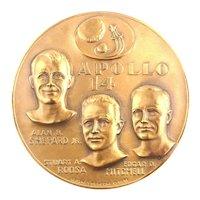 1971 APOLLO 14 Bronze Medal Medallion - Space Moon Trip