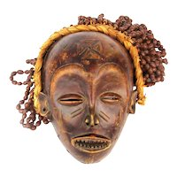 Old Carved Wood African Congo CHOKWE Mask