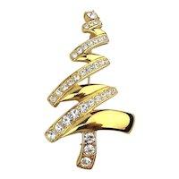 Vintage Ziggy MONET Rhinestone Christmas Tree Pin Brooch